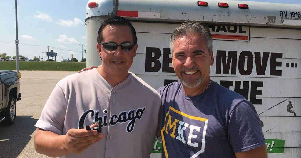 Jerry Munoz and Steve Endries after a U-Haul lockout service.