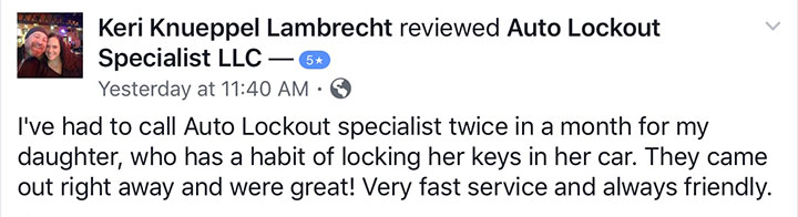 Keri Knueppel Lambrecht review of Auto Lockout Specialist, LLC